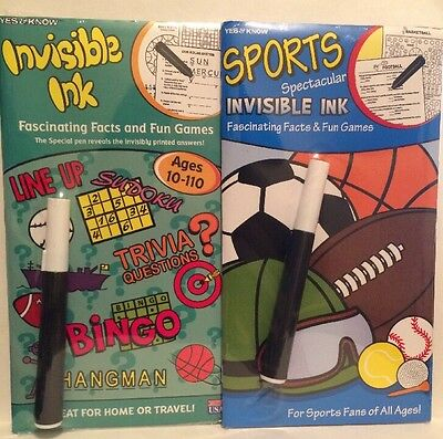 Yes and Know Sports Invisible Ink Fascinating Facts and Fun Games Lot Of 2