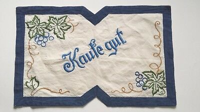 Vintage German Hand Embroidered Kaufe Gut Buy Well  Market Basket Cover Grapes