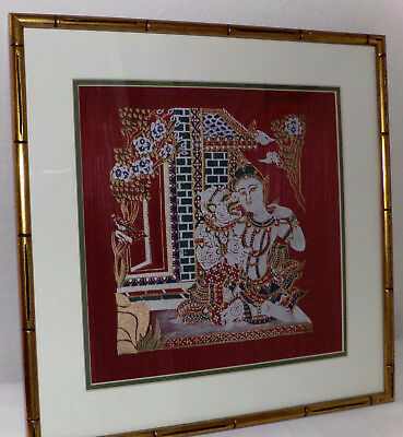 Vintage Mid Century Thai Lovers Gods Goddesses Hand Painted Silk Artwork Framed