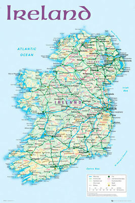 Ireland Map 2012 Maps Educational Maxi Poster Print 61x91.5cm | 24x36 inches