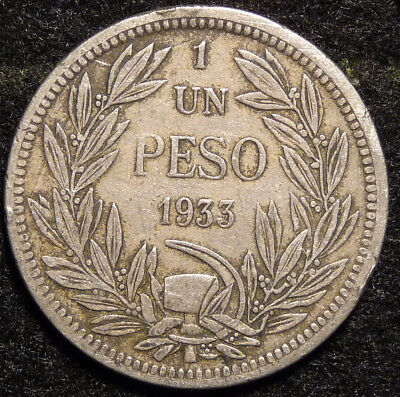 1933  CHILE  1 Peso Coin    F73