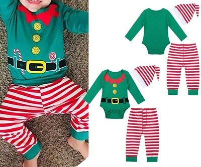 Newborn Baby Boy Girl Christmas Clothes Romper Tops Pants Hat Outfit Set 3Pcs