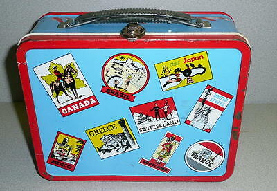 Vintage Ohio Art BLUE & RED TRAVELER Metal Lunchbox Overall Very Good Condition
