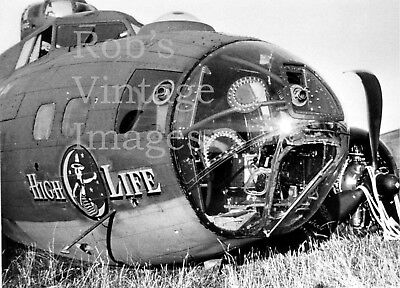 WW 2 Boeing B -17 Bomber HIgh Life Nose  Airplane Crash Photo USAAF