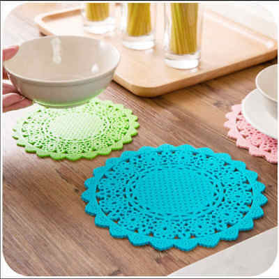 1pc Lace Flower Hollow Silicone Coaster Coffee Table Cup Mats Pad Tableware SP