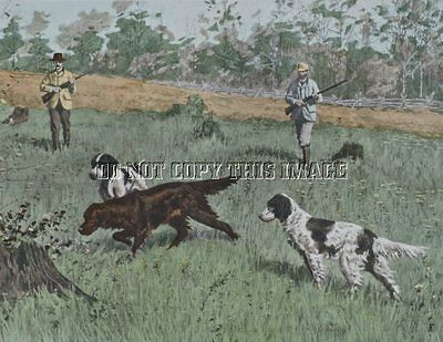 Antique 8X10 Photographic Reprint A. B. Frost Quail Hunting With Bird Dogs