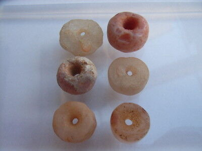 6 Ancient Neolithic Quartz Beads, Stone Age, VERY RARE !!