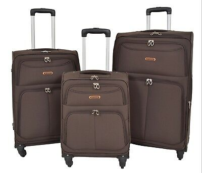 Lightweight Suitcases 4 Wheel Luggage BROWN Soft Case Expandable Travel Bags NEW