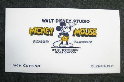 ORIGINAL 1930's WALT DISNEY STUDIO BUSINESS CARD~HYPERION~MICKEY MOUSE SOUND CRT