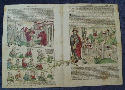 Memphis Abraham Sodom & Gomorrah Isaac Oldcoloured Woodcuts Schedel1493 #c061