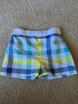 586364cf8db4f Lot of 2 Baby Boy's Swim Trunks Suit Board Size 3 To 6 Months Plaid Shorts