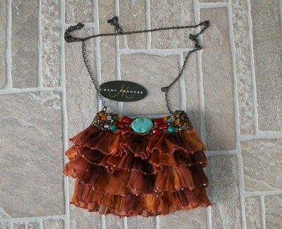 """Designer Mary Frances """"gorgeous"""" Turquoise Rock Out Hand Beaded Purse New!"""