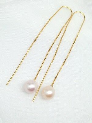 Sterling Silver 925 Freshwater Pearl Threader Earrings 7.8-8mm Silver Gold