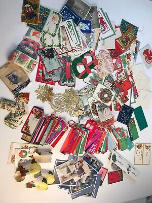 Vintage UNUSED Mixed Lot 275+ Loose Christmas Gift Tags Holiday 75+ Stickers NOS