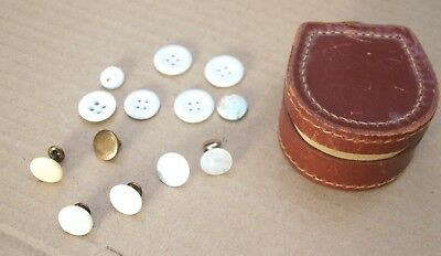 Vintage Shirt Collar Studs & Buttons in Leather Stud Box. Mother of Pearl.