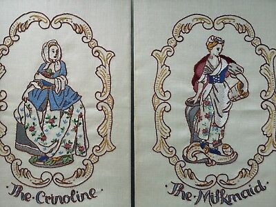 2 Vintage Beautifully Hand Embroidered  Panels Crinoline Lady And  Milkmaid