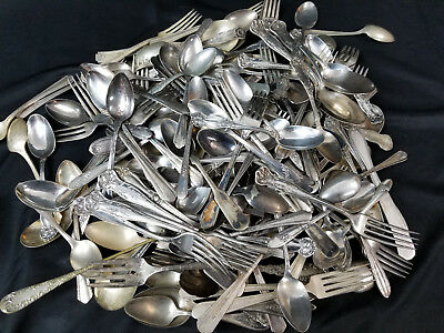 150 Piece Lot Of Mixed Antique & Vtg Silverplate Flatware For Crafts Or Resale