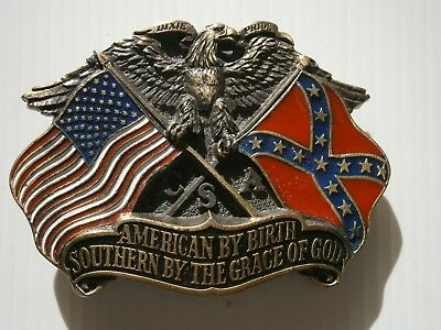 American Dixie Belt Buckle Brass Eagle Flag Southern by the Grace of God USA