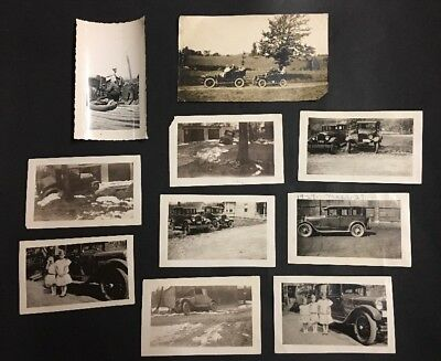 x10 Antique Car Photos 1927 Kids Repairs Driving Early Auto ++