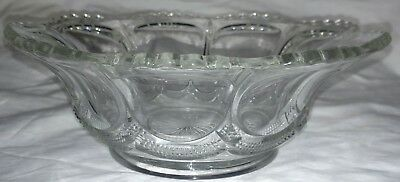 "vintage clear pressed glass bowl scalloped 9 panel 8 7/8"" wide 3 1/8"" tall"