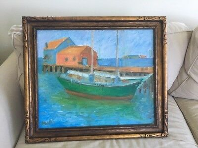 Beautiful sailboat painting in antique picture frame 28 1/2 x 24 1/2.
