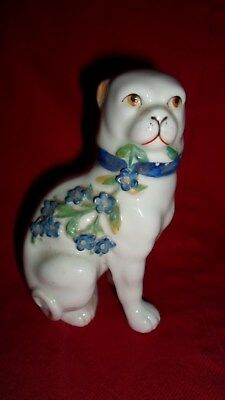 Antique Victorian Porcelain Pug Dog Figurine Embossed With Forget-Me-Knots