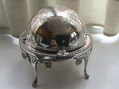 Superb Vintage John Biggin Silver Plated Roll Top Butter/caviar Dish