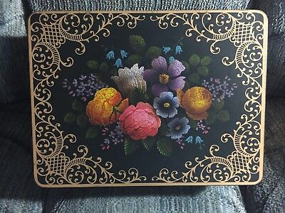 Vintage Case Manufacturing Co. Floral Black and Gold Tin Made in England