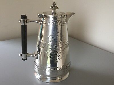 Superb Antique Victorian Johnson Durban Silver Plated And Ebony Coffee Pot