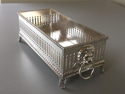Superb Vintage Silver Plated Lions Head Footed Biscuit Tray