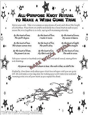 KNOT MAGIC WISH Spell 1pgParch fr Wicca Book of Shadows Witchcraft