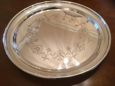 Beautiful Antique John Gallimore Silver Plated Chased Footed Drinks Tray 1876-96
