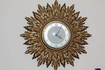 Stunning Vintage 1930's / 40's Smiths Sectric Sunburst Electric Wall Clock