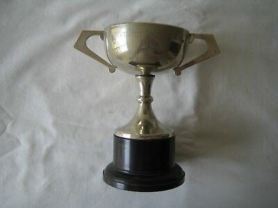 The Chorlton Challenge Cup 1956 silver plate golf trophy cup on bakelite base.