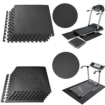 Large Black Eva Interlocking Soft Mat Foam Exercise Gym Garage Office Floor Tile