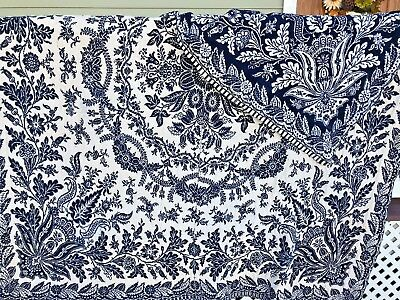 Antique 19th Century Two Panel Double Weave Jacquard Coverlet BLUE WHITE Compass
