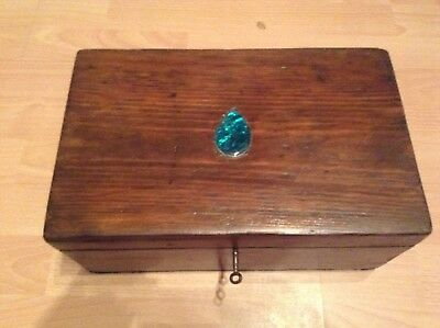 Vintage Wooden Box with lift out tray ideal as a sewing box with original key