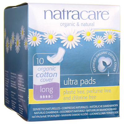 Natracare Organic Cotton Cover Ultra Pads - Long 10 Ct