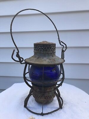 Reading Trans Dept Blue Globe Vintage Lantern Railway Railroad