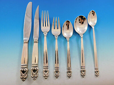 Royal Danish by International Sterling Silver Flatware Set for 8 Service 56 pcs