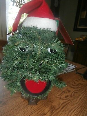 Douglas Fir The Talking Christmas Tree Talks Sings Animated Eyes Mouth 2 ft tall