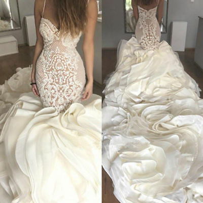White/Ivory Lace Wedding Dress Mermaid Cathedral Trains Bridal Gowns Custom Size