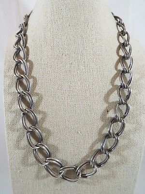 """Sterling Silver Heavy Double Curb Link Chain Necklace 20"""" Long x 9/16"""" Wide"""