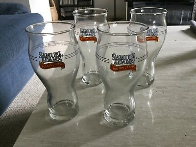 "4 SAMUEL ""SAM"" ADAMS BEER 16 oz PINT GLASSES ""for the love of beer"""