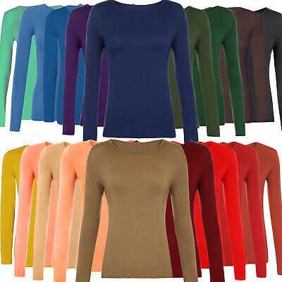 Womens Ladies Stretch Long Sleeves Plain Round Neck T-Shirt Top Casual S-3XL Lot