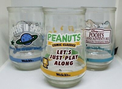 Welch's Jelly Jar Glasses Cups Lot of 3 Disney Pooh Henson Muppets Peanuts 1998