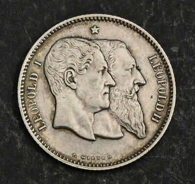 """1880, Belgium, Leopold II. Silver 1 Franc """"Independence Anniversary"""" Coin. XF+"""
