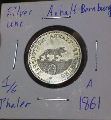 Anhalt - Bernburg 1/6 Thaler 1861 A Silver Unc MS Coin Bear On The Wall Germany