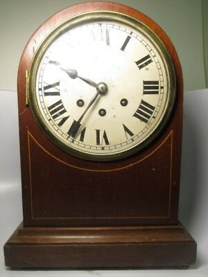 Antique Badische Uhrenfabrik German Wooden Mantle Shelf Clock
