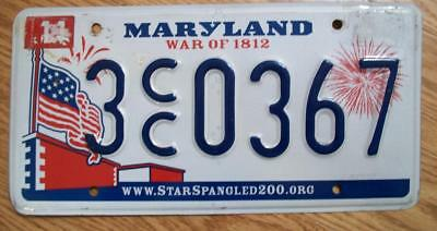SINGLE MARYLAND LICENSE PLATE - 2010 - 3CC0367 - War of 1812